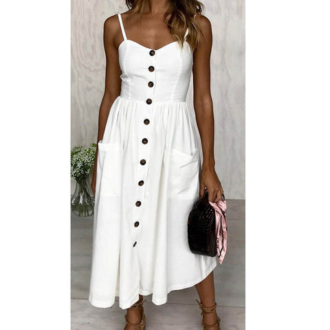 Women Sexy Strap Button Up Sleeveless Plain Long Casual Dress Pocket