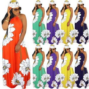 Lotus Printed Strapless Halter Bohemian Beachwear Party Maxi Dress With Headscarf