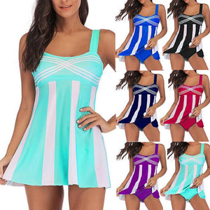 Women Striped StrapPlus size Sexy Tankini Set