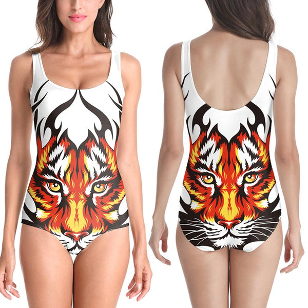 Sexy 3D Tiger Printed Beach Swimwear Bathing Suit One Piece Swimsuit