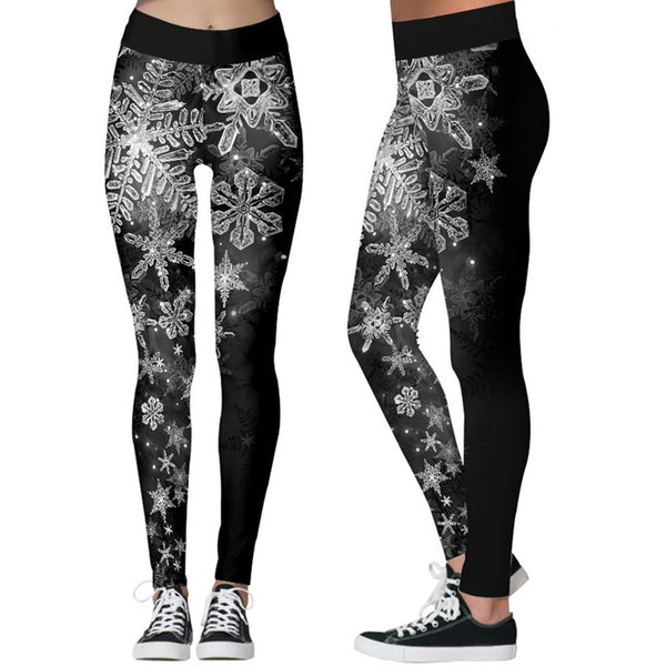 Snowflake Print Christmas Women Stretch Tights Casual Sweatpants Leggings Yoga Pants Pajama Pants