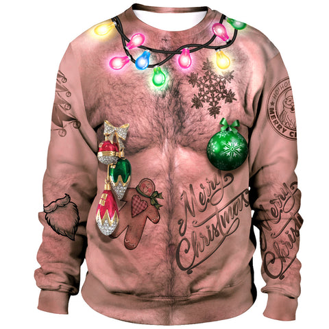 Funny Hairy Chest Light Ugly Christmas Men Long Sleeve Sweatshirt Sweater