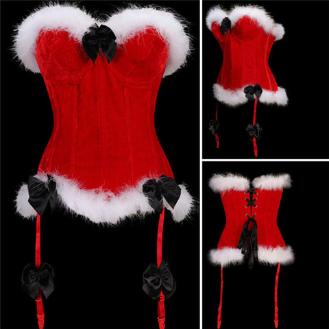 Velvet Christmas Corset Top with Faux Fur Hem