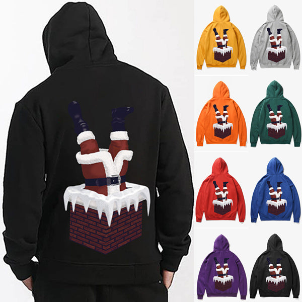 Warm Thickening Santa Claus Chimney Print Loose Velvet Hoodie