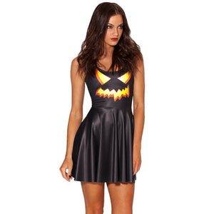 Halloween Pumpkin Light Print Show Party Costume Dress
