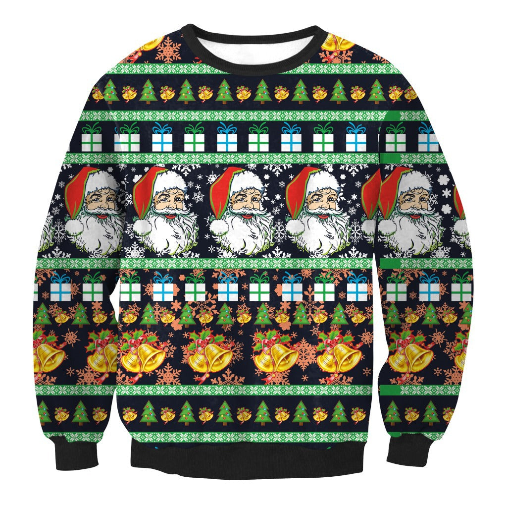 Christmas Santa Claus Print Loose Round Neck Sweatshirt