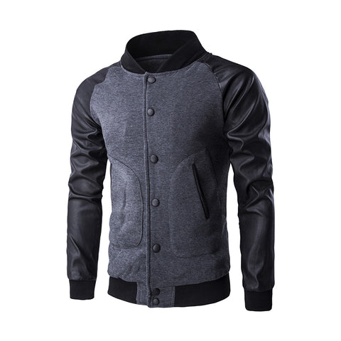 False Leather Sleeve Slash Pocket Jacket