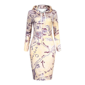 Vintage Map Hoodie Dress