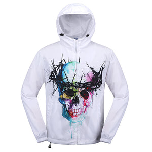 3D Graffiti Skull Printed Men's Hooded Jacket