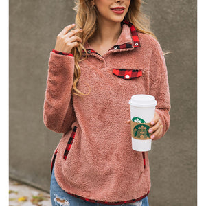 Fashion Plaid Stitching Pocket Button Female Sweatshirt