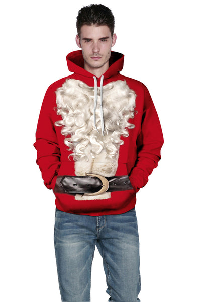Christmas Long Sleeve Santa Claus 3D Beard Pattern Ugly Sweater Hoodie Sweatshirt Jacket for Men Women