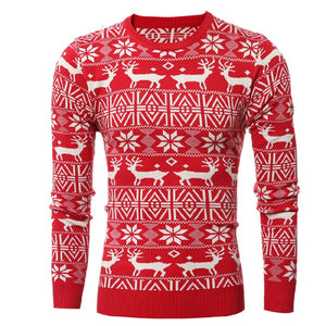 Christmas Fawn Pattern Long Sleeve Sweater