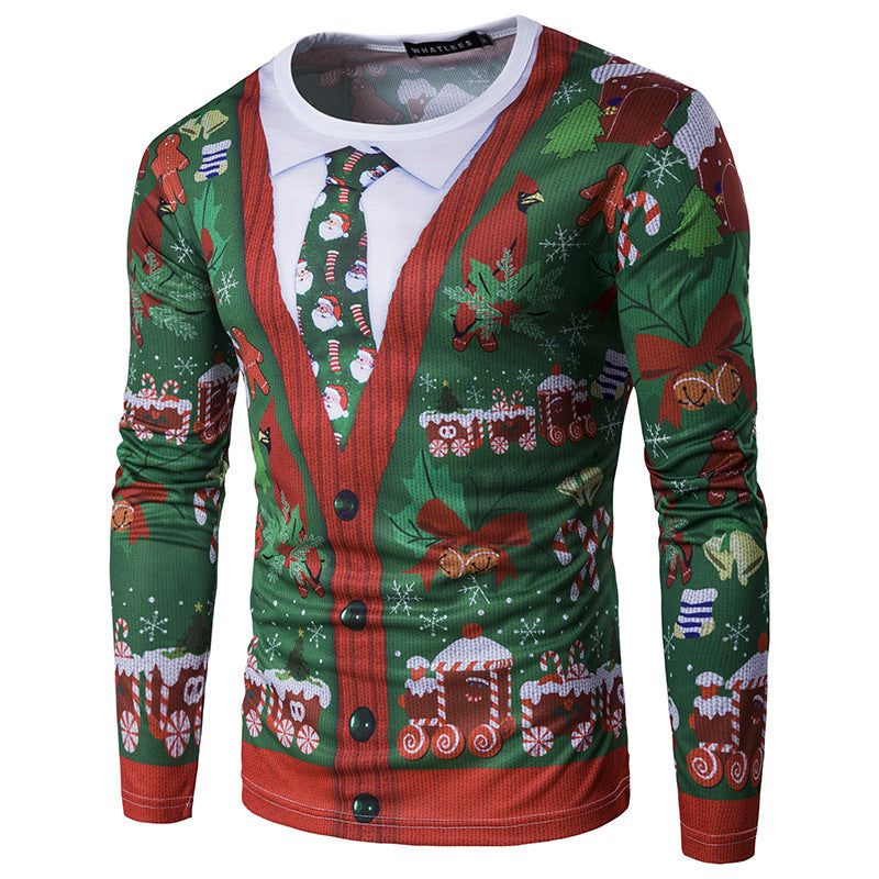 Faux Twinset Print Men Ugly Christmas Sweater Sweatshirt T-Shirt Top