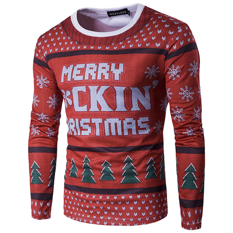 3D Merry Christmas Print Long Sleeve Christmas T-shirt Top