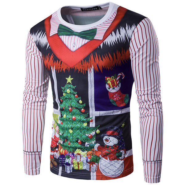 Christmas Tree Letter Print Round Neck 3D Christmas T-shirt Top