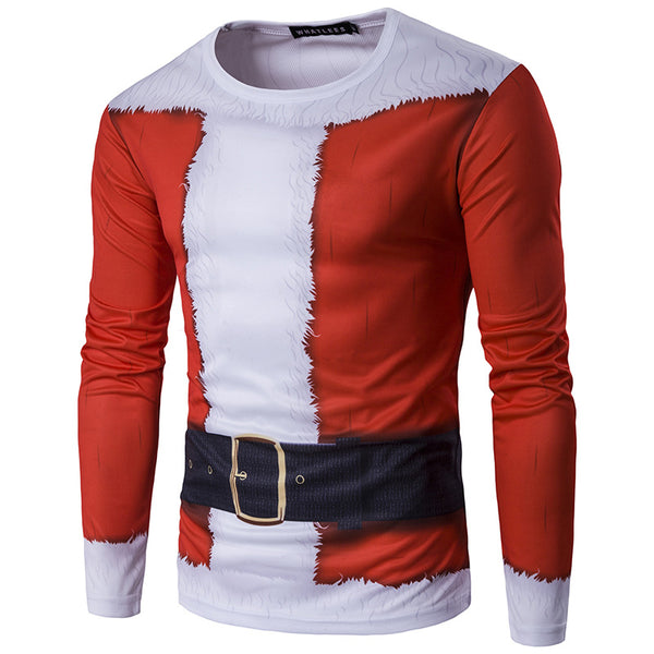 3D Santa Print Crew Neck Long Sleeve T-Shirt
