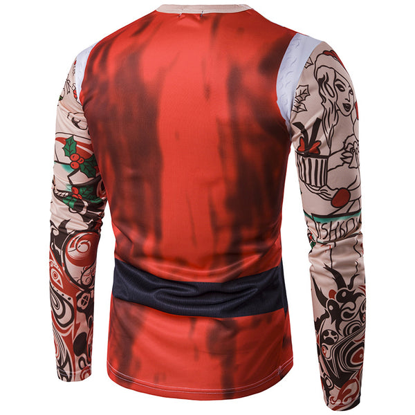 Santa Claus Print Round Neck 3D Men Long Sleeve Ugly Christmas T-shirt Tops