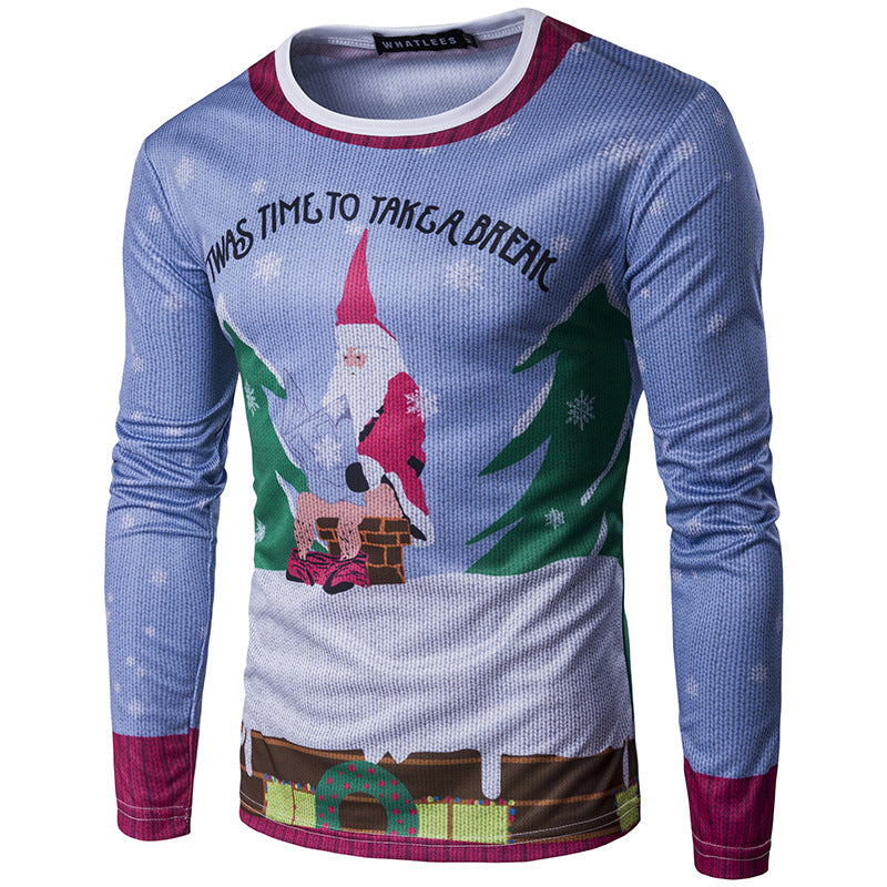 3D Round Neck Christmas Print Long Sleeve T-shirt