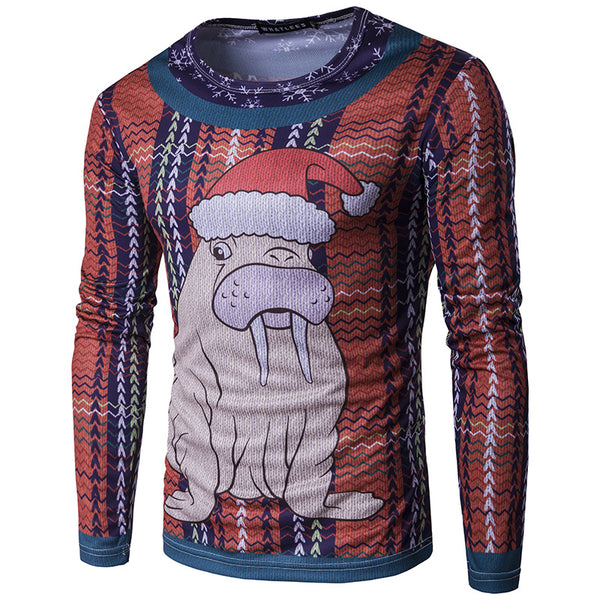 Sea Lion Christmas Print 3D Long Sleeve T-Shirt