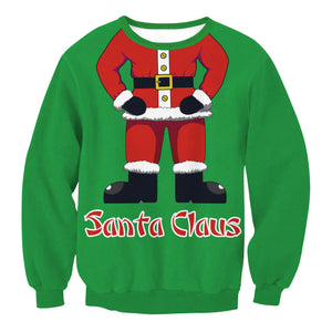 Santa Claus Round Neck Loose Christmas Top