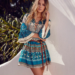 Women Fashion V Neck Floral Bell Sleeve Flare Boho Mini Dress Casual Summer Holiday Beach Short Dress
