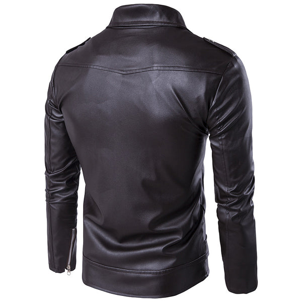 Men's Diagonal Zip Stand Collar Button Leather Jacket