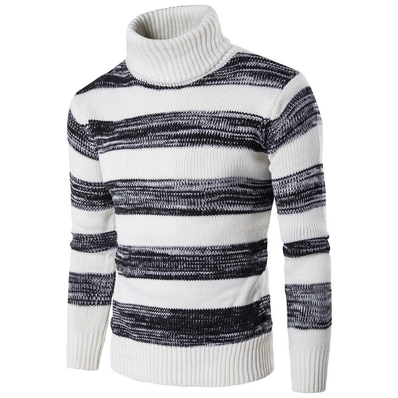 Striped Turtleneck Lapel Knit Sweater