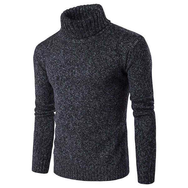 Solid Color High Collar Lapel Knit Sweater