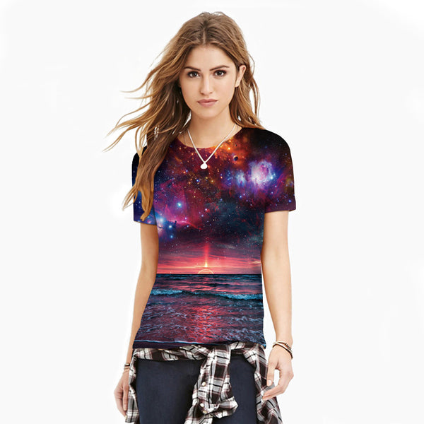 Sunset Glow Printed Casual Short Sleeve T-shirt