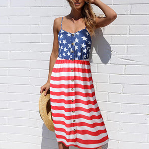 Flag Button Up A Line Dress
