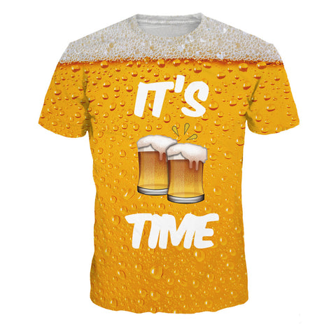 Beer Bubble Digital Print Short Sleeve Top