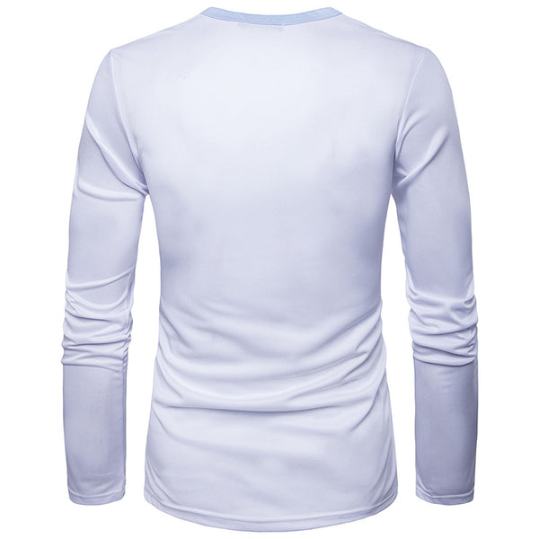Fake Two-piece 3D Printed Long Sleeve Round Neck T-shirt