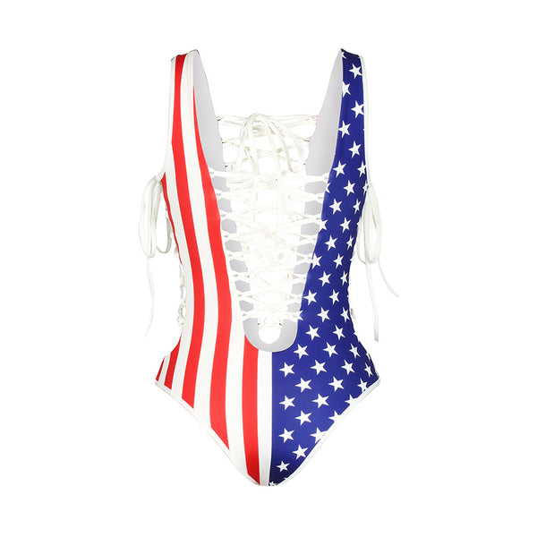 Sexy Bandage Cross Rope Lace up Skull Flag Printed One Piece Swimsuit