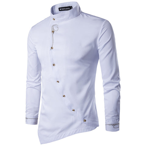 Single-breasted Placket Stitch Embellished Shirt