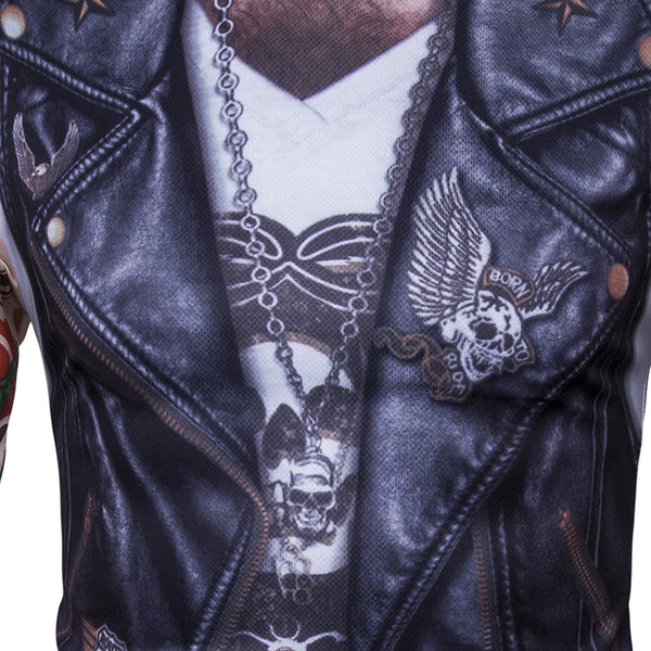 3D Leather Vest Tattoo Arm Print Long Sleeve Round Neck T-shirt
