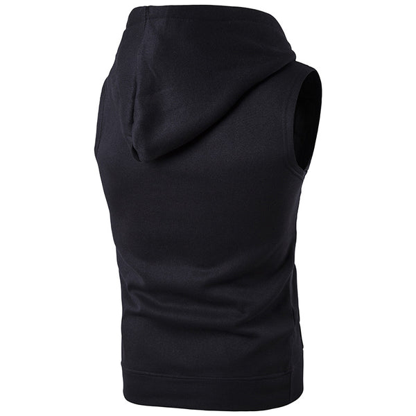 Solid Color Pocket Pullover Sleeveless Hoodie
