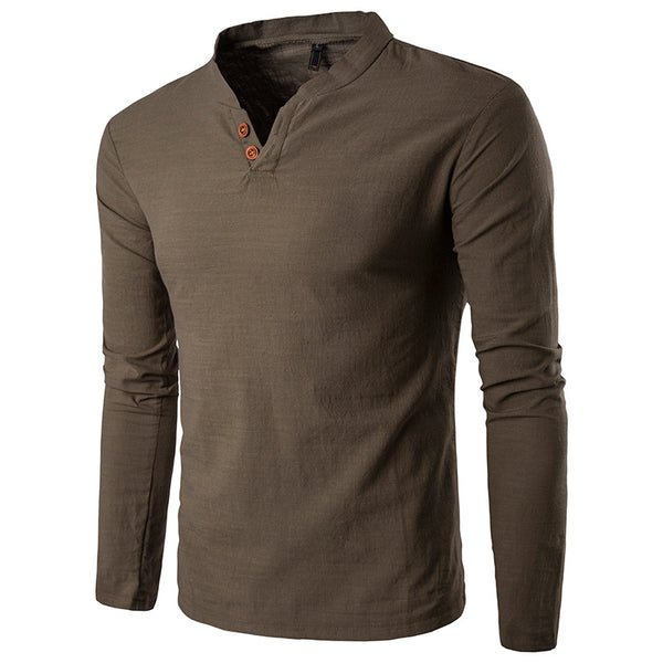 Solid Color Cotton Casual V-neck Long-Sleeved T-shirt