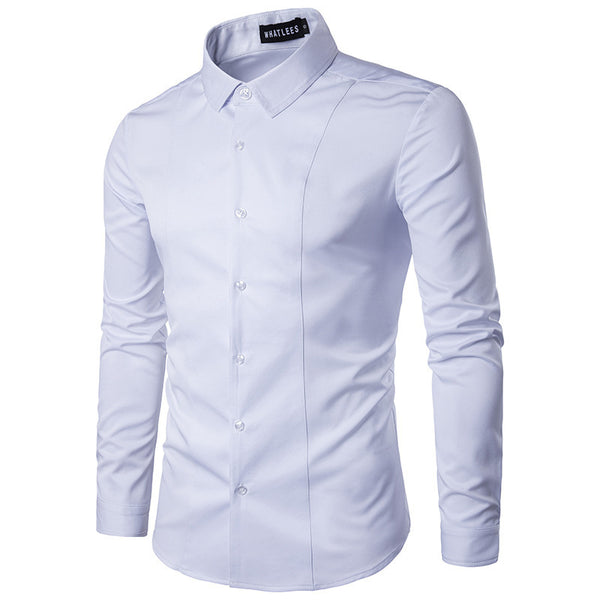 Men's Casual Solid Slim Long Sleeve Shirt