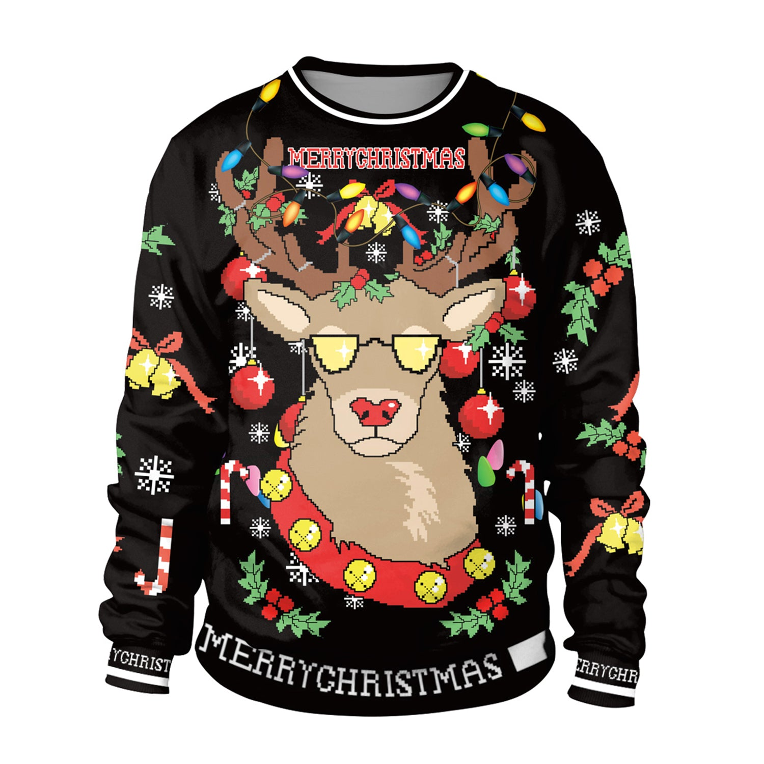 Funny Reindeer Light Ugly Christmas Sweater Men Women Round Collar Sweatshirt