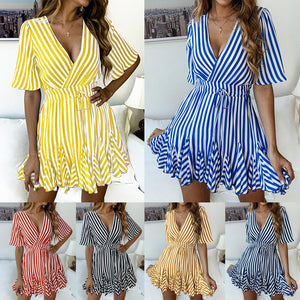 Stripe Print V-neck Wrap Short Tea Dress