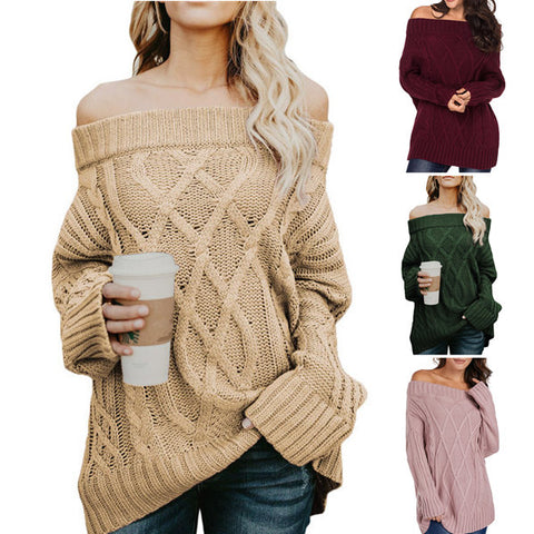 Sexy Off Shoulder Long Sleeve Women's Sweater