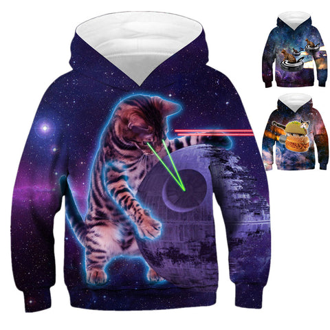 Children's Star Cat Print Hooded Sweatshirt