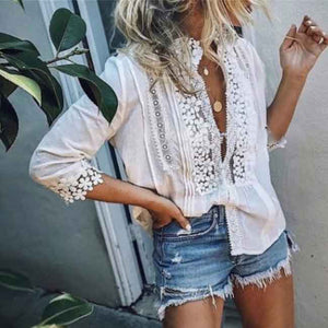 Casual Loose Sexy Lace Mid-Sleeve T-shirt
