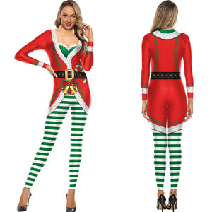 Women Funny Ugly Christmas Bodycon Stretch Jumpsuits Christmas Costume Pajamas Onesie