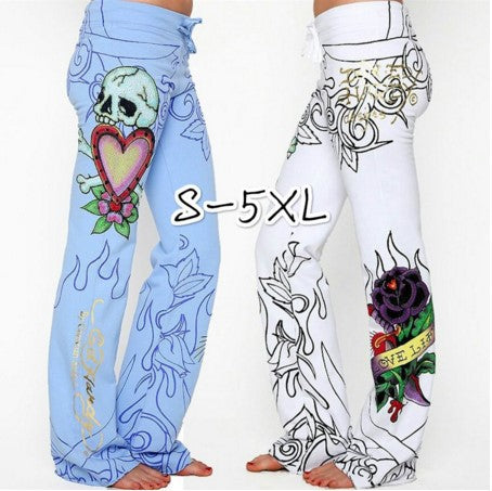 Plus Size Taro Rose Digital Print Wide Leg Pants
