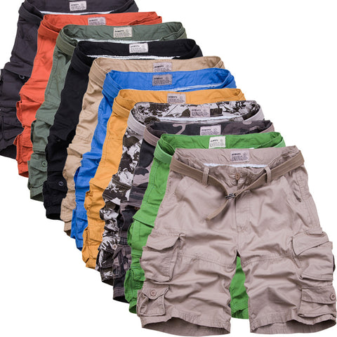 Zipper Fly Camouflage Multi Pockets Shorts Men Camo Shorts