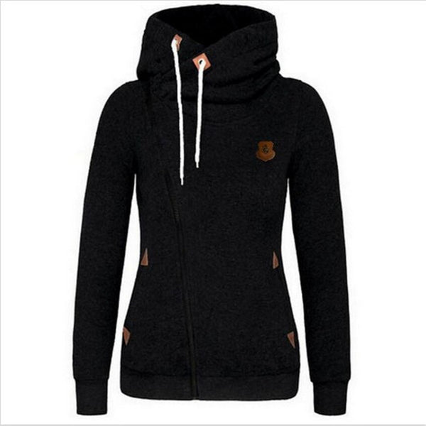 Women's Casual Style Solid Color Zipper Hoodie