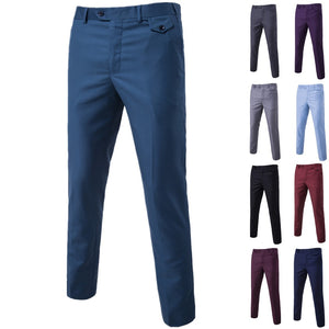 Men's Solid Color Casual Business Trousers