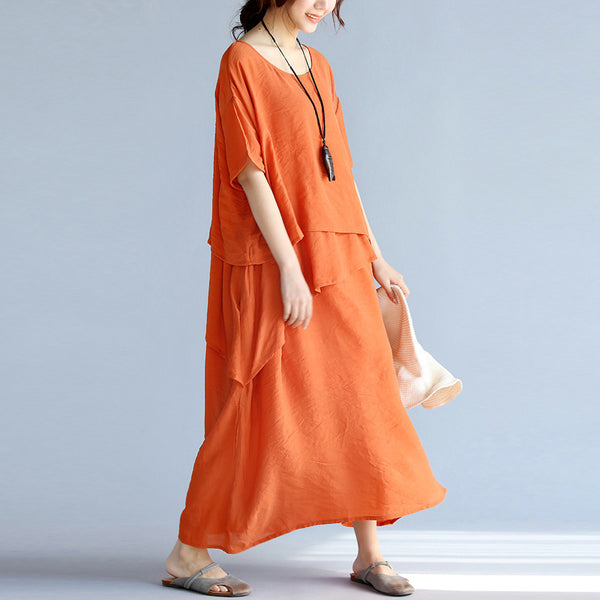 Loose Fitting Long Linen Dresses Oversized Cotton Maxi Dress Vintage Short Sleeve Cotton Clothing