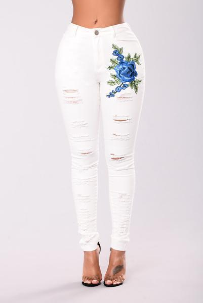 Embroidered Hole White Denim Stretch Jeans Pants Trousers